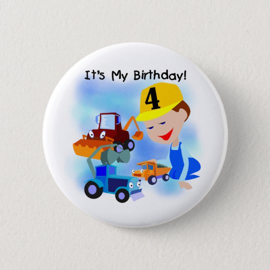 Kids Construction 4th Birthday T-shirts and Gifts Button