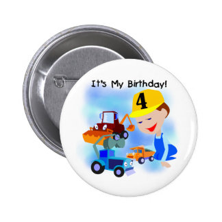 Kids Construction 4th Birthday T-shirts and Gifts Buttons