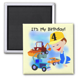 Kids Construction 4th Birthday T-shirts and Gifts Refrigerator Magnets