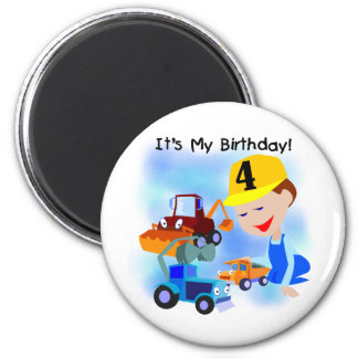 Kids Construction 4th Birthday T-shirts and Gifts Fridge Magnets