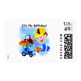 Kids Construction 4th Birthday T-shirts and Gifts Postage Stamps