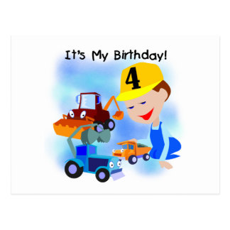 Kids Construction 4th Birthday T-shirts and Gifts Post Cards