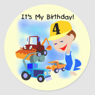 Kids Construction 4th Birthday T-shirts and Gifts Stickers