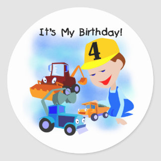 Kids Construction 4th Birthday T-shirts and Gifts Round Stickers