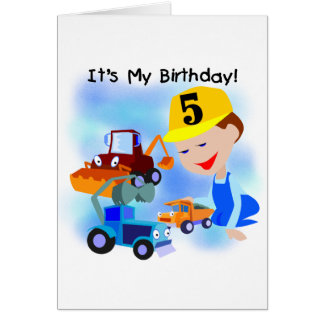 Kids Construction 5th Birthday Tshirts and Gifts Greeting Card
