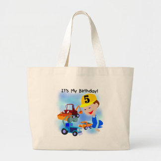 Kids Construction 5th Birthday Tshirts and Gifts Large Tote Bag