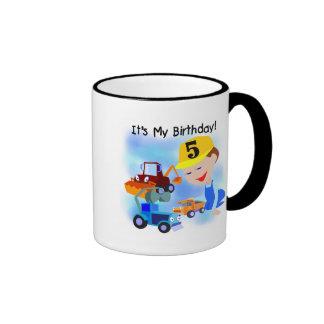 Kids Construction 5th Birthday Tshirts and Gifts Ringer Coffee Mug