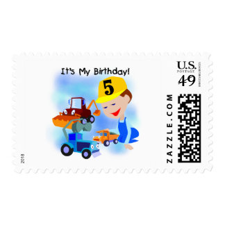 Kids Construction 5th Birthday Tshirts and Gifts Stamps
