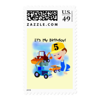 Kids Construction 5th Birthday Tshirts and Gifts Postage Stamp