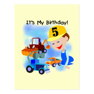 Kids Construction 5th Birthday Tshirts and Gifts Postcard