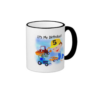 Kids Construction 5th Birthday Tshirts and Gifts Ringer Coffee Mug