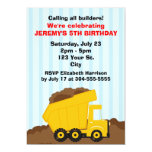 Kids Construction Birthday Personalized Announcement