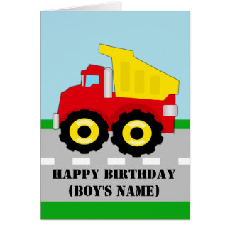Kids Construction Dumpruck Birthday Card
