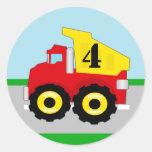 Kids Construction Dumpruck Envelope Seal / Favor Round Sticker