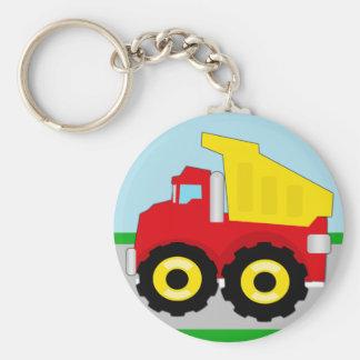 Kids Construction Dumptruck Basic Round Button Keychain