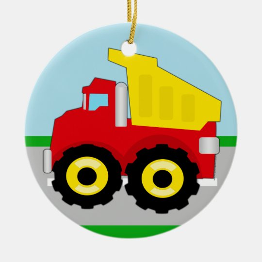 Kids Construction Dumptruck Ceramic Ornament