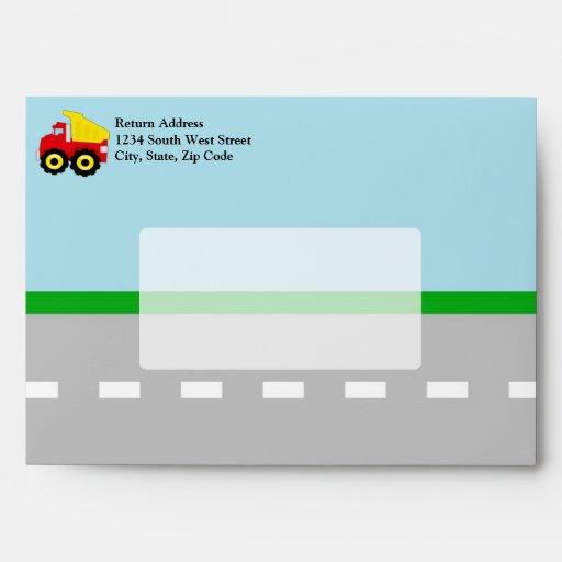 Kids Construction Dumptruck Envelopes