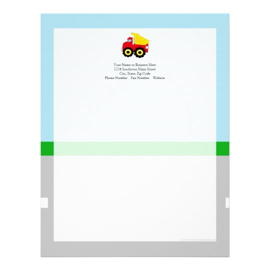 Kids Construction Dumptruck Letterhead