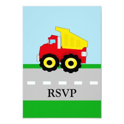 Kids Construction Dumptruck Matching RSVP 3.5x5 Paper Invitation Card
