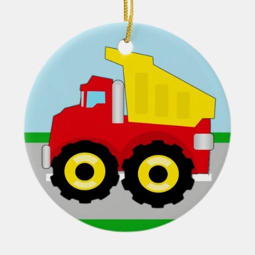 Kids Construction Dumptruck Christmas Ornaments