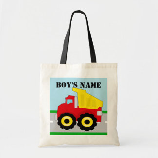 Kids Construction Dumptruck Personalized Name Tote Bag