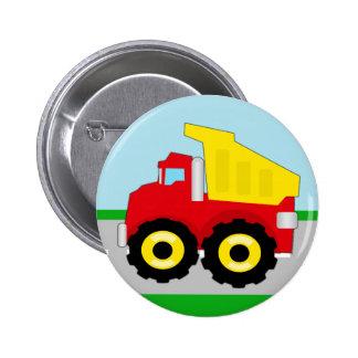 Kids Construction Dumptruck Pinback Button