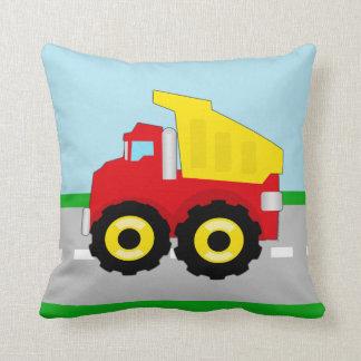 Kids Construction Dumptruck Throw Pillow