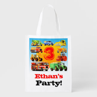 Kid's Construction Truck 3rd  Birthday Party Favor Reusable Grocery Bag