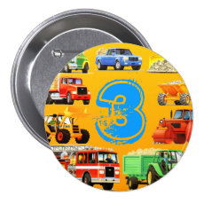 Kid's Construction Truck 3rd Birthday Pinback Button