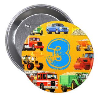 Kid's Construction Truck 3rd Birthday Pinback Button