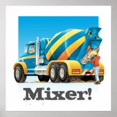 Kids Construction Truck Concrete Cement Mixer Poster