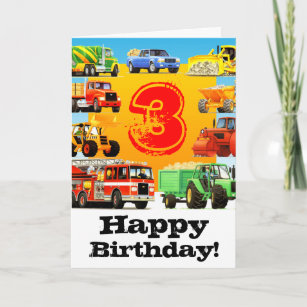 Kids Construction Truck Happy 3rd Birthday Card