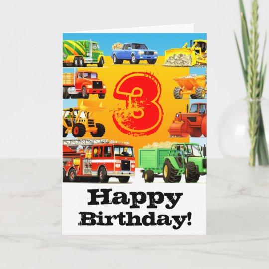 Kids Construction Truck Happy 3rd Birthday Card Zazzle