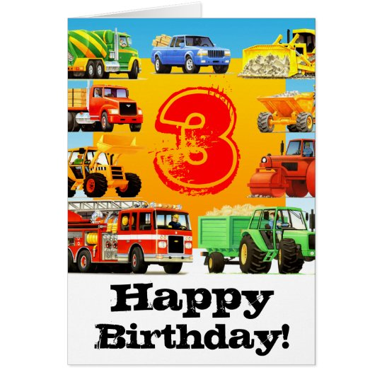 Kids Construction Truck Happy 3rd Birthday Card Zazzle Com