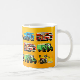 Kids Construction Truck on Yellow Patterned Coffee Mug
