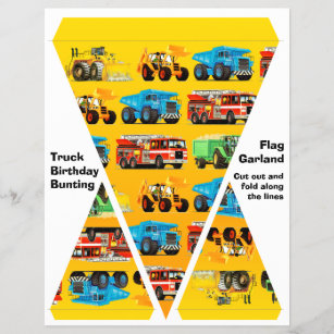 kids construction truck party decorations bunting