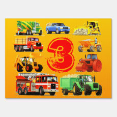 Kid's Construction Truck Party Sign