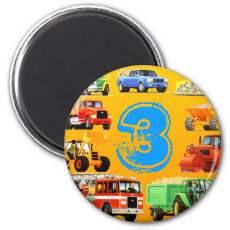 Kid's Construction Trucks 3rd Birthday 2 Inch Round Magnet