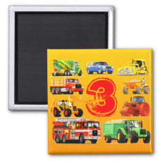 Kid's Construction Trucks 3rd Birthday 2 Inch Square Magnet