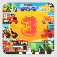 Kid's Construction Trucks 3rd Birthday Party Square Sticker