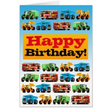 Kids Construction Trucks Happy Birthday Card