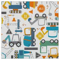 Kids Construction Vehicles Doodle Fabric