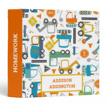 Kids Construction Vehicles Doodle Personalized 3 Ring Binder