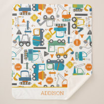 Kids Construction Vehicles Doodle Personalized Sherpa Blanket