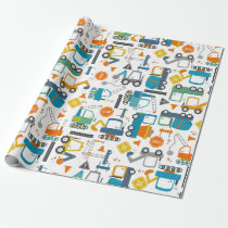 Kids Construction Vehicles Doodle Wrapping Paper