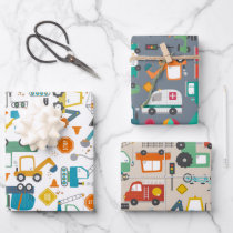 Kids Construction Vehicles Doodle Wrapping Paper Sheets