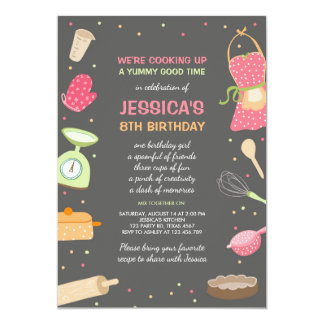 Kids Cooking Birthday Invitation Kitchen Baking