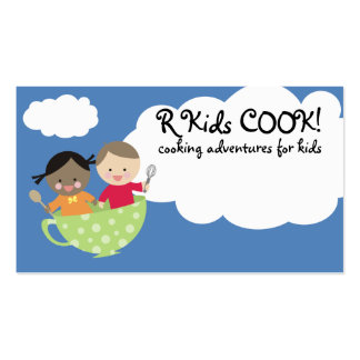 kids cooking flying teacup business cards
