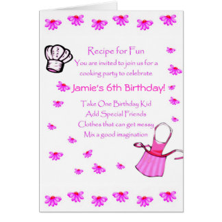 Kids Cooking Party Invitation Customize Stationery Note Card
