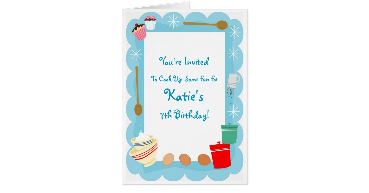 Kid\'s Cooking Party Invitations | Zazzle.com